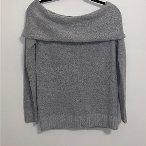 Grey over the shoulder sweater